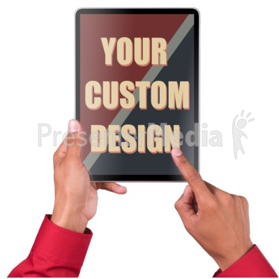 Hands Touch Tablet Vert Male Custom Presentation clipart