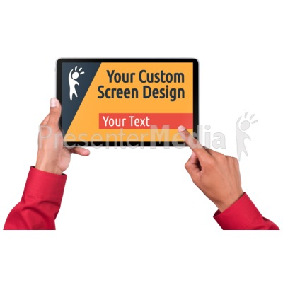Hands Touch Tablet Male Custom Presentation clipart