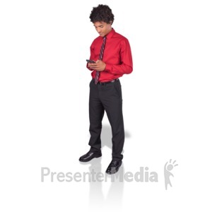 ID# 17172 - Young Man Texting Phone - Presentation Clipart