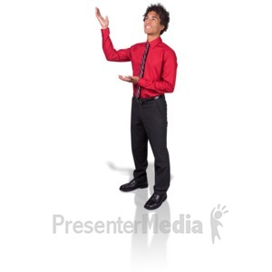 ID# 17182 - Young Man Gesturing Upward - Presentation Clipart