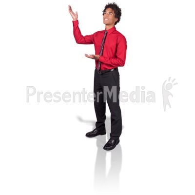 Young Man Gesturing Upward PowerPoint Clip Art