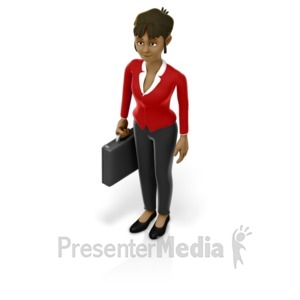 ID# 17207 - Business Woman Holding Briefcase - Presentation Clipart