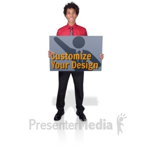 ID# 17219 - Young Business Man Hold Sign - Presentation Clipart