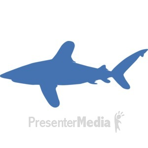 ID# 17232 - Oceanic Whitetip Silhouette - Presentation Clipart