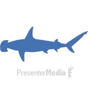 ID# 17235 - Hammerhead Shark Silhouette - Presentation Clipart