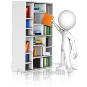 ID# 17243 - Figure Pulling Book From Shelf - Presentation Clipart