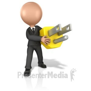 ID# 17265 - Business Figure Holding Giant Plug - Presentation Clipart