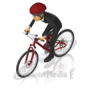 ID# 17280 - Business Man Bicycle - Presentation Clipart