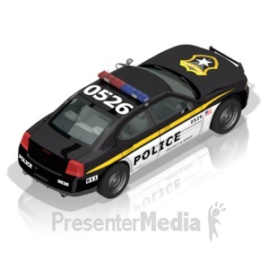 ID# 17297 - Police Car Back - Presentation Clipart