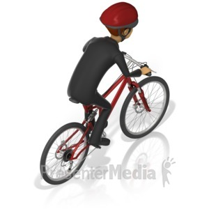 ID# 17304 - Business Man Bicycle Back - Presentation Clipart