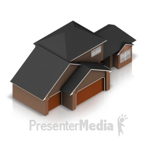 ID# 17320 - Three Stall Residential House - Presentation Clipart