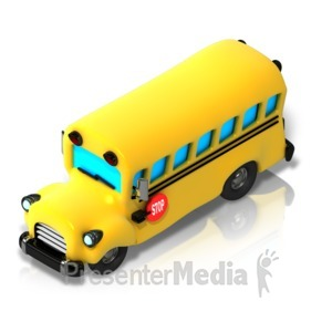 ID# 17343 - School Bus Isometric front view - Presentation Clipart