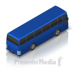 ID# 17349 - Touring Bus Back Isometric - Presentation Clipart