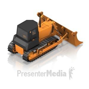 ID# 17351 - Bulldozer Back Isometric - Presentation Clipart