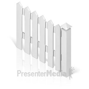 ID# 17369 - Picket Fence With Post - Presentation Clipart
