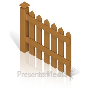 ID# 17370 - Picket Fence With Post Color Back - Presentation Clipart