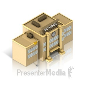 ID# 17380 - School Building Isometric - Presentation Clipart