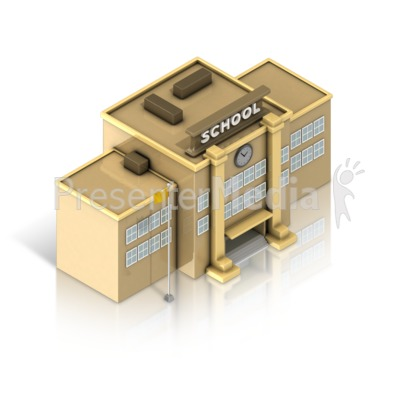 School Building Isometric PowerPoint Clip Art