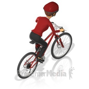 ID# 17382 - Business Woman Bicycle Back - Presentation Clipart