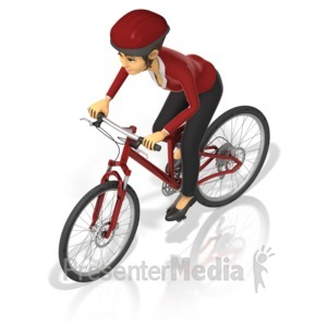 ID# 17383 - Business Woman Bicycle - Presentation Clipart