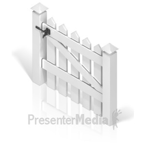 ID# 17387 - Picket Fence Gate Back - Presentation Clipart