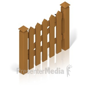 ID# 17393 - Picket Fence Gate Color - Presentation Clipart