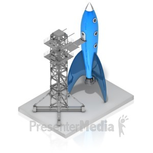 ID# 17400 - Rocket On Launch Pad - Presentation Clipart