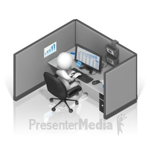 ID# 17401 - Stick Figure Cubicle - Presentation Clipart