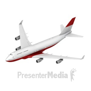 ID# 17436 - Airliner Flying Toward Isometric - Presentation Clipart