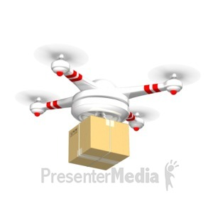 ID# 17442 - Drone Carrying Delivery Box - Presentation Clipart
