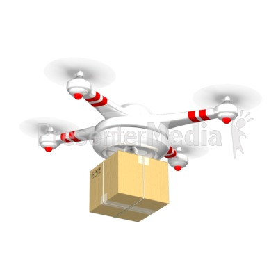 Drone Carrying Delivery Box PowerPoint Clip Art