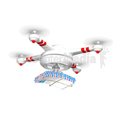 Drone Carrying Mail PowerPoint Clip Art