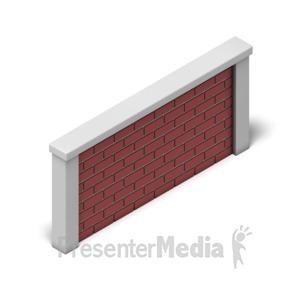 ID# 17484 - Brick Wall Isometric - Presentation Clipart