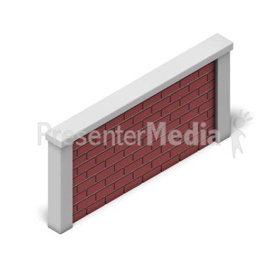 Brick Wall Isometric PowerPoint Clip Art