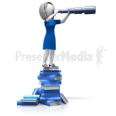 Woman Spyglass Books PowerPoint Clip Art