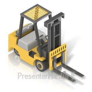 ID# 17502 - Forklift Front Isometric - Presentation Clipart