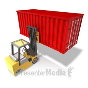 ID# 17506 - Forklift Carry Heavy Container Rear - Presentation Clipart