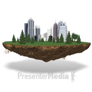 ID# 17512 - City On Chunk Of Land - Presentation Clipart