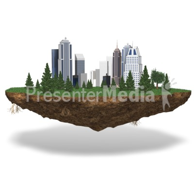 City On Chunk Of Land PowerPoint Clip Art