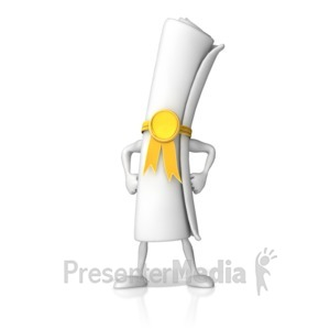 ID# 17522 - Diploma Standing Strong - Presentation Clipart