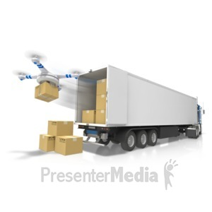 ID# 17559 - Semi With Drone Delivery - Presentation Clipart