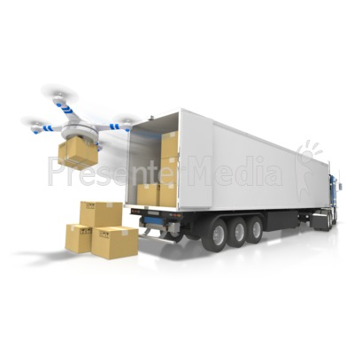 Semi With Drone Delivery PowerPoint Clip Art