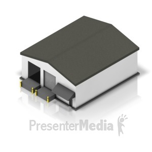 ID# 17606 - Small Shipping Warehouse Isometric - Presentation Clipart