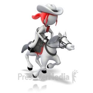 ID# 17612 - Cowboy Riding Horse - Presentation Clipart