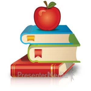 ID# 17646 - Stack Of Books Apple - Presentation Clipart
