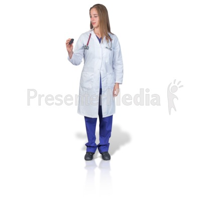 Female Doctor or Nurse with Pager PowerPoint Clip Art