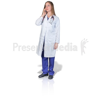 Female Doctor or Nurse Talking Phone PowerPoint Clip Art