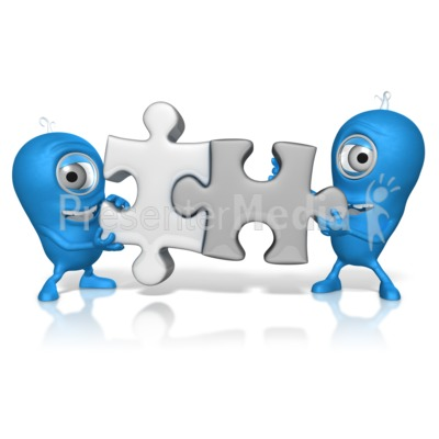 Characters Put Puzzle Pieces Together PowerPoint Clip Art