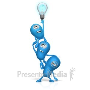 ID# 17665 - Teamwork Reach For Light Bulb - Presentation Clipart