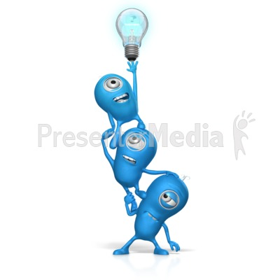 Teamwork Reach For Light Bulb PowerPoint Clip Art